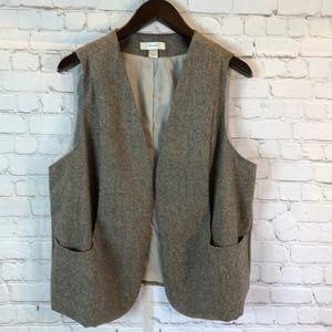 CJ Banks brown shimmer tweed vest w lapel pocket
